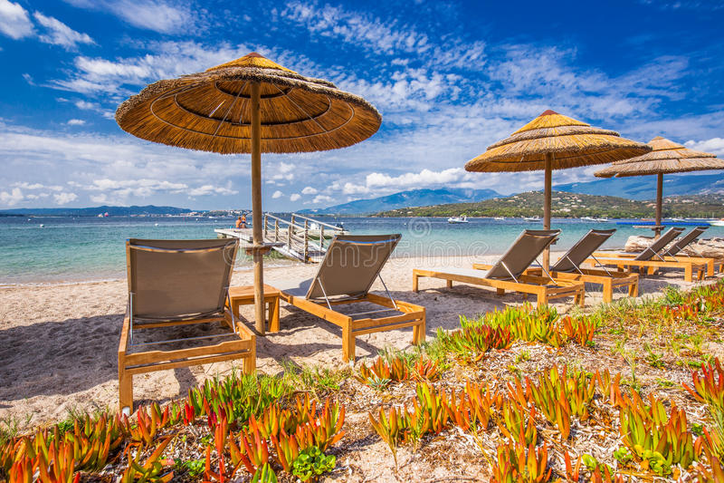 Beach chairs on San Ciprianu sandy beach in Corsica, France, Europe. Beach chairs on San Ciprianu white sandy beach in Corsica, France, Europe royalty free stock photos