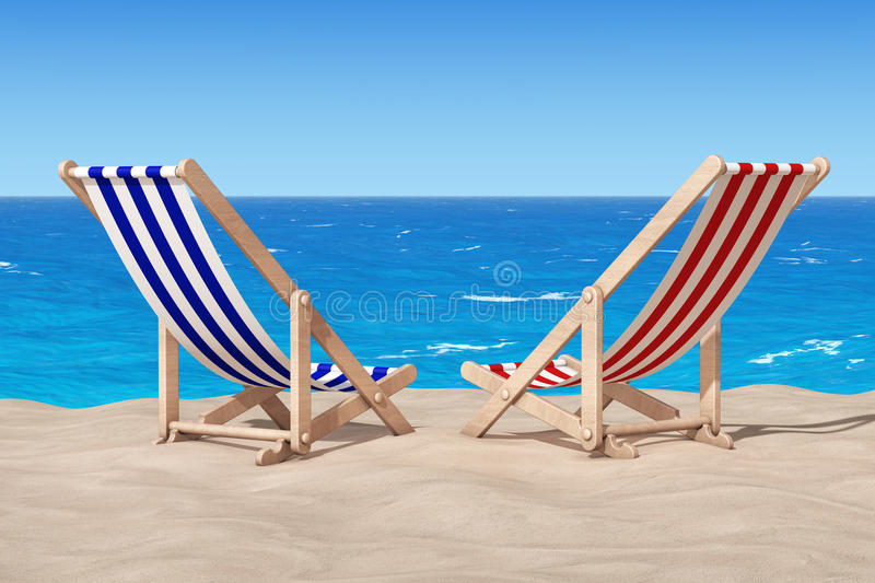 Download Beach Chairs On The Sand Sunny Beach. 3d Rendering Stock  Illustration   Illustration Of
