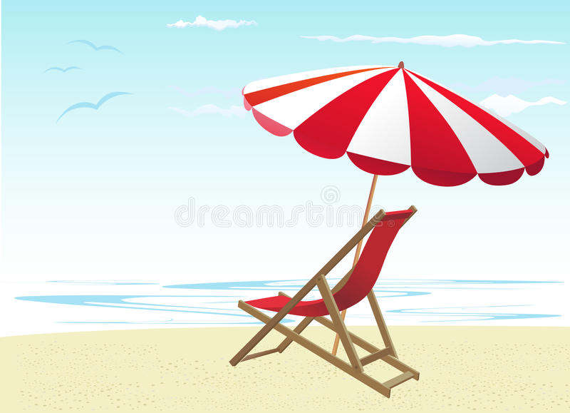 Download Beach chairs and umbrella stock vector. Image of ocean - 20571505