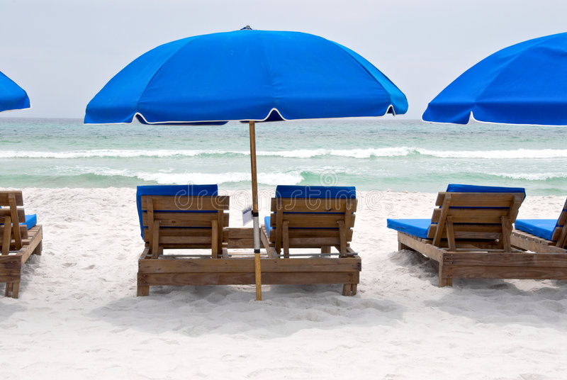 Beach Chairs and Umbrellas royalty free stock photography