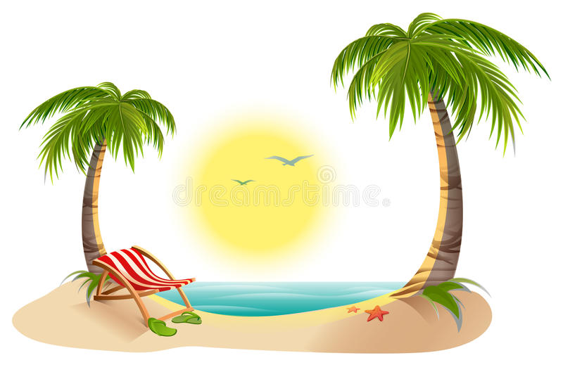 Beach chaise longue under palm tree. Summer vacation in tropics vector illustration