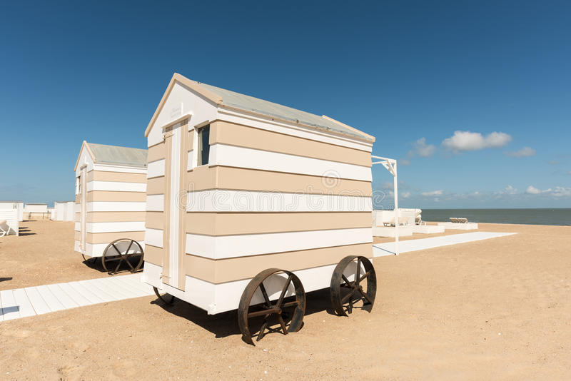 Beach changing rooms. On Knokke beach in Belgium royalty free stock photos