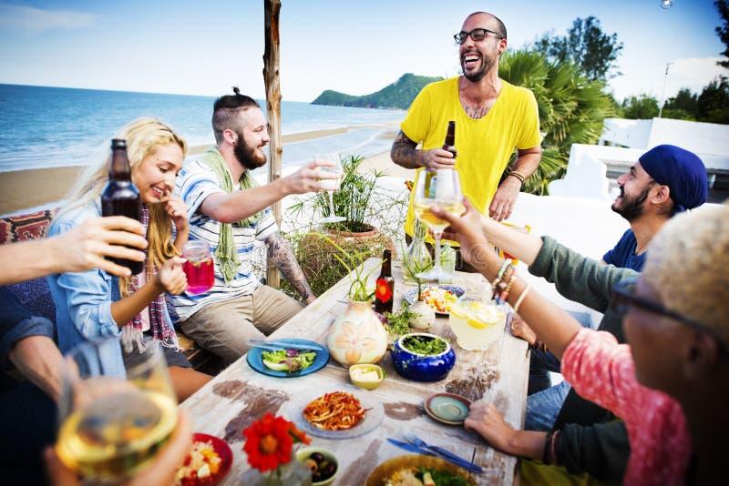 Beach Cheers Celebration Friendship Summer Fun Dinner Concept stock photography