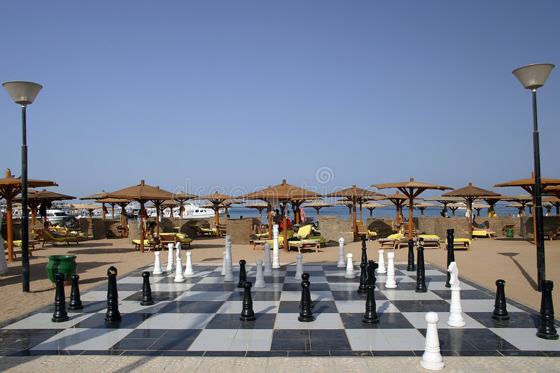 Beach chess royalty free stock image