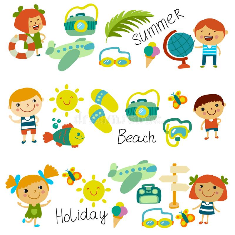 Beach and children. Summer vacation. Ocean, sea. Cartoon kids swimming. Beach and children. Summer vacation. Ocean, sea Cartoon kids swimming royalty free illustration