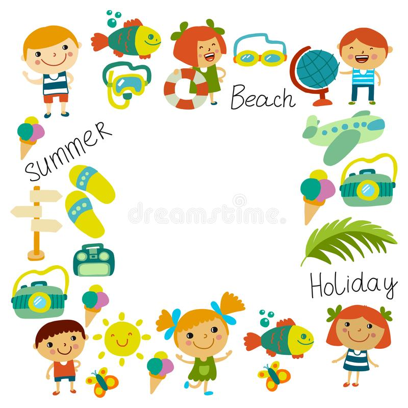 Beach and children. Summer vacation. Ocean, sea. Cartoon kids swimming. Beach and children. Summer vacation. Ocean, sea Cartoon kids swimming vector illustration
