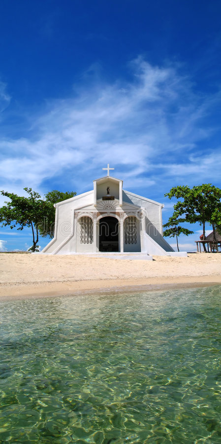Beach Church in Philippines stock photo