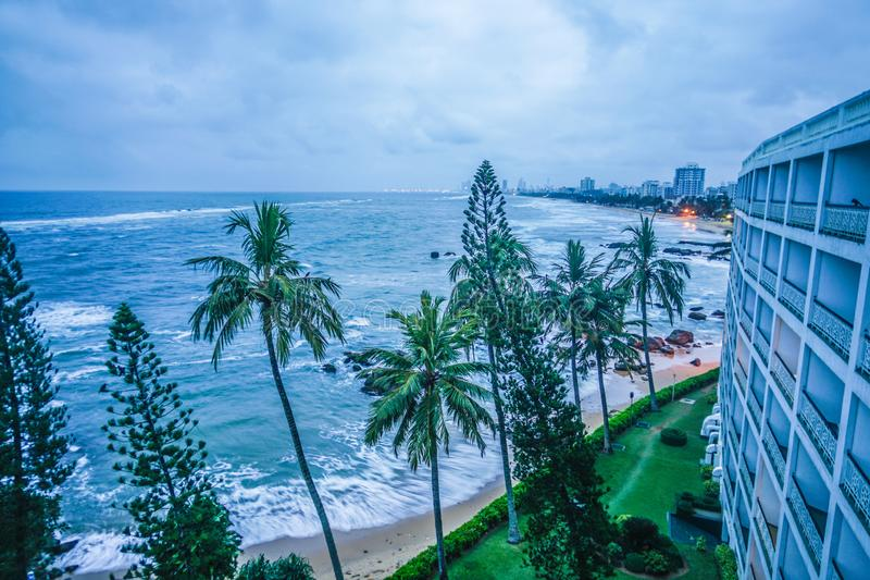 Beach and city of Colombo, Sri Lanka. Shooting location :  Sri Lanka, Colombo stock photo