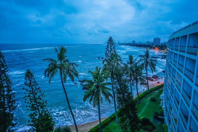 Beach and city of Colombo, Sri Lanka. Shooting location :  Sri Lanka, Colombo royalty free stock images