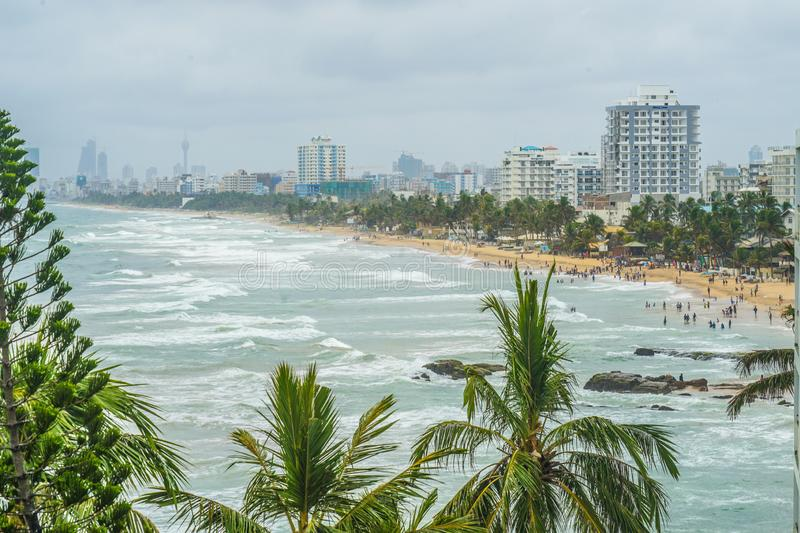 Beach and city of Colombo, Sri Lanka. Shooting location :  Sri Lanka, Colombo stock photography