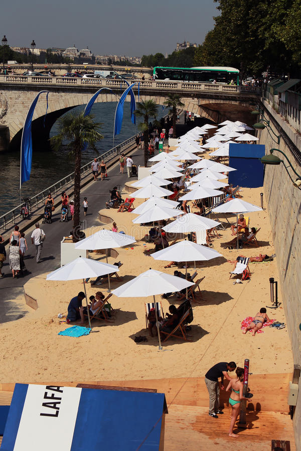 THE BEACH IN THE CITY AT PARIS stock image