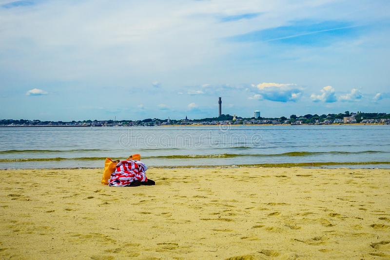 The beach on a clear summer day in Provincetown, Cape Cod, Massachusetts. USA royalty free stock photos