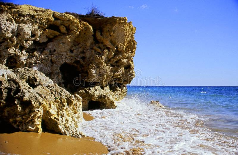 Beach cliff royalty free stock photography