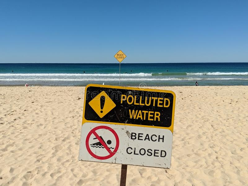 Beach Closed - Polluted Water royalty free stock photography