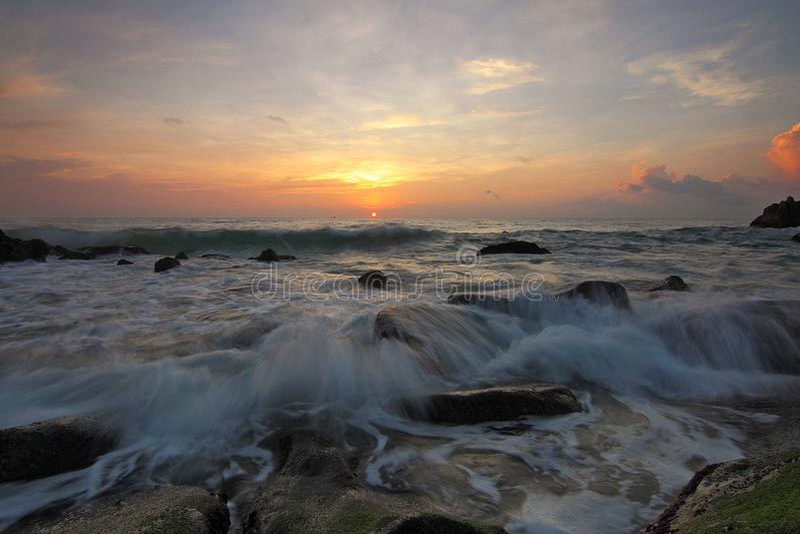 Beach, Clouds, Dawn royalty free stock photo