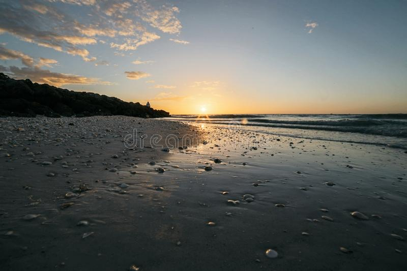 Beach, Clouds, Dawn, Landscape royalty free stock photography