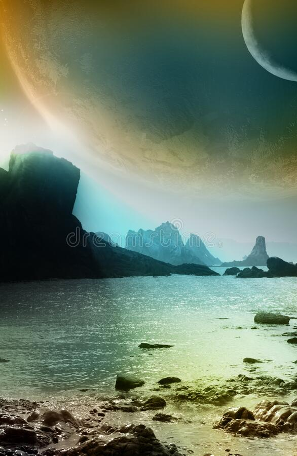 Beach and coast on alien planet. Coast of an ocean, on an alien planet, close to other planets or satellites stock illustration