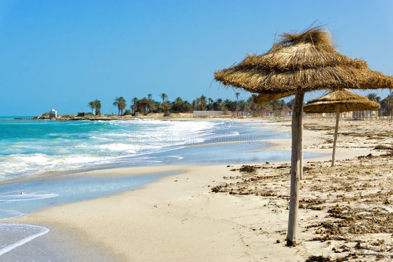 Beach in the Coastal Area of Djerba in Tunisia. View of beach in the coastal area of Djerba in Tunisia stock photo