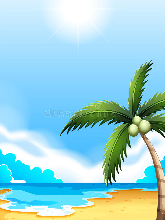 A beach with a coconut tree stock illustration