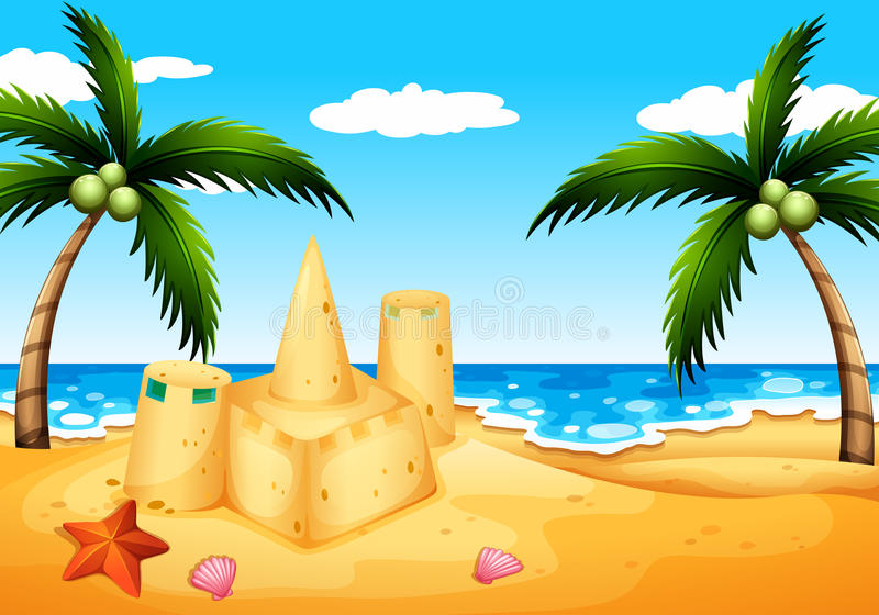 A beach with coconut trees and a sand castle. Illustration of a beach with coconut trees and a sand castle royalty free illustration