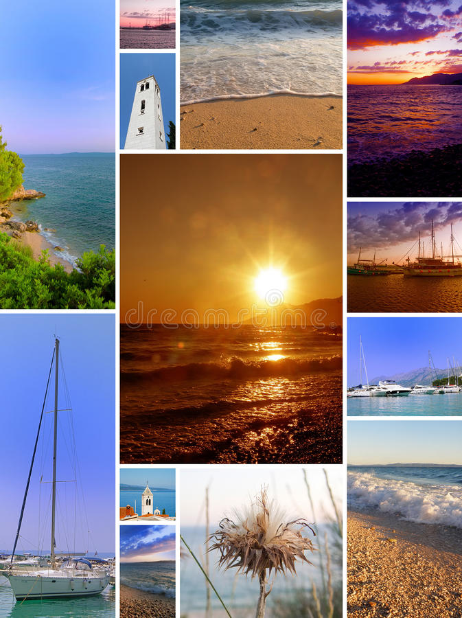 Beach collage. Nice collage - pictures of sunny beaches and summer days stock photography
