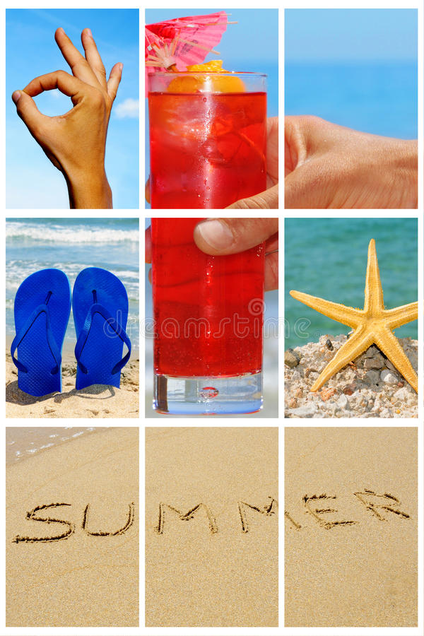 Beach collage. A collage of nine pictures of many beach items and scenes stock photography