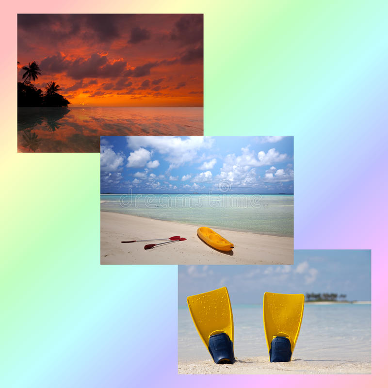 Beach collage. Beach scenes collage on colorful background stock photo