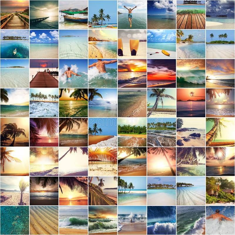Beach collage. Beach background royalty free stock photography