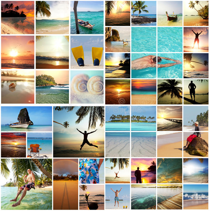 Beach collage. Beach background stock images