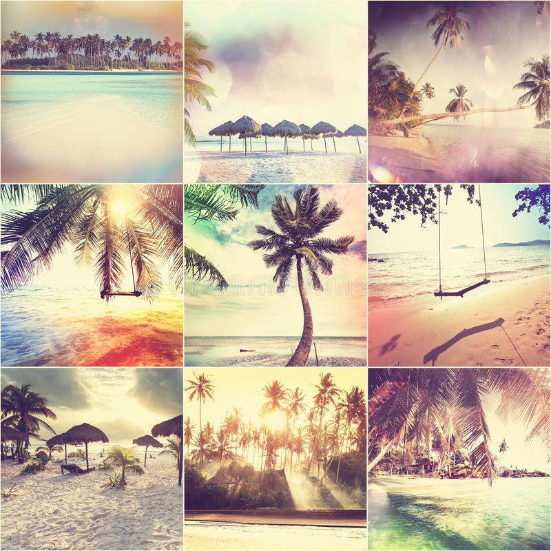 Beach collage. Beach background stock photo
