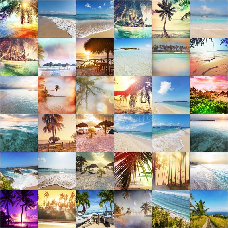 Beach collage. Beach background royalty free stock images