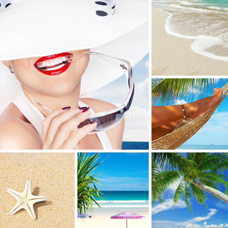 Beach collage. Summer beach theme collage composed of a few images royalty free stock image