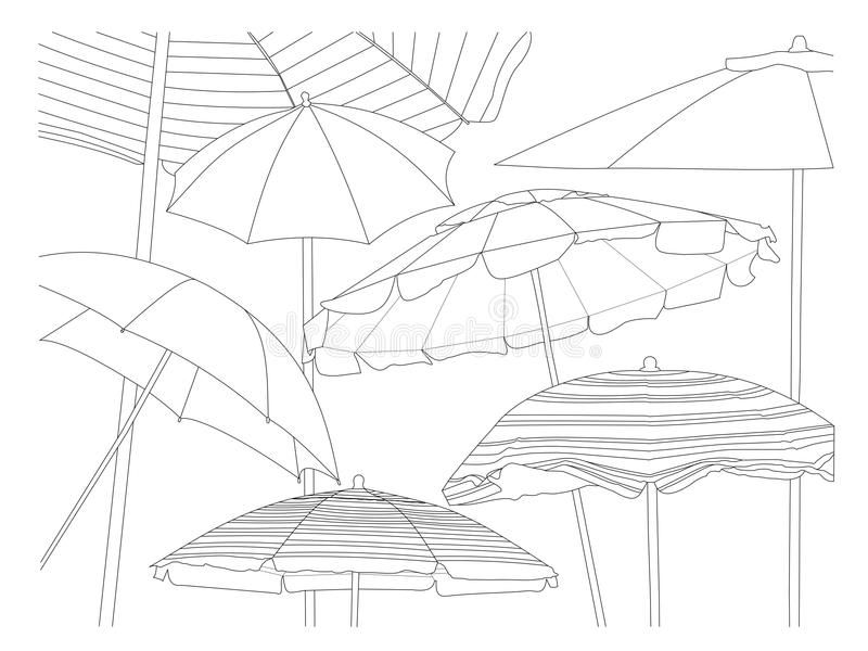Beach Collection The Umbrellas. A line drawing of many different styles of beach umbrellas royalty free illustration