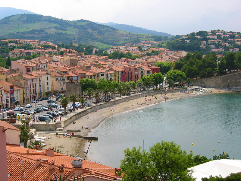 Download Beach in Collioure stock photo. Image of hill, collioure - 21456920