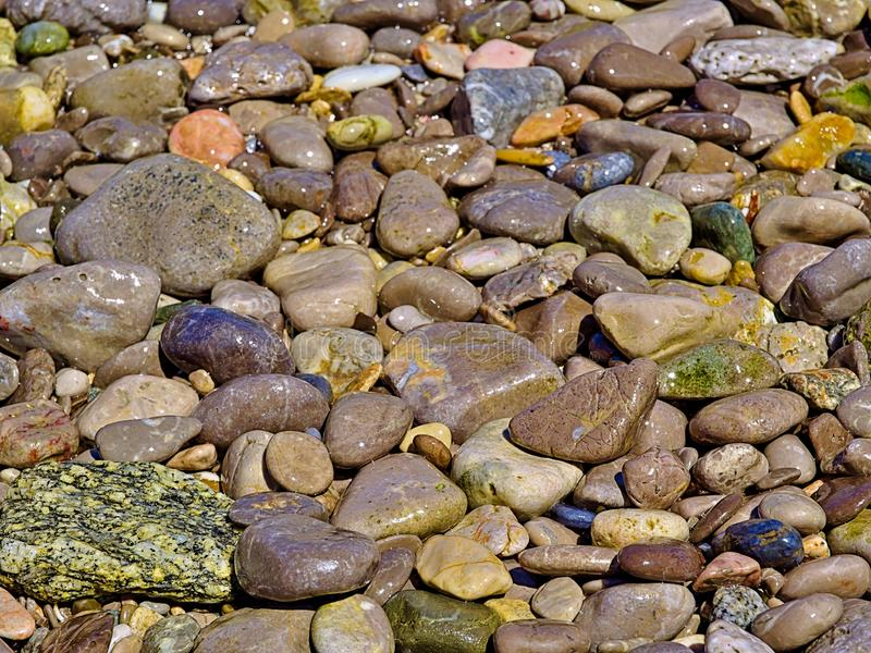 Beach colorful pebbles close up, beautiful textured seamless background stock photos