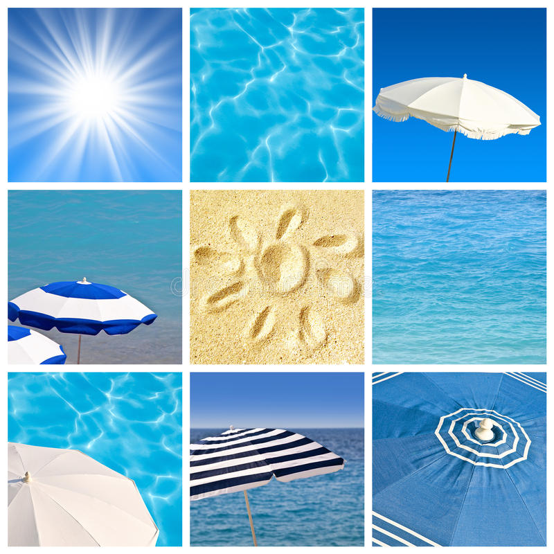 Beach concept square collage. Beach and sun concept square collage royalty free stock photo