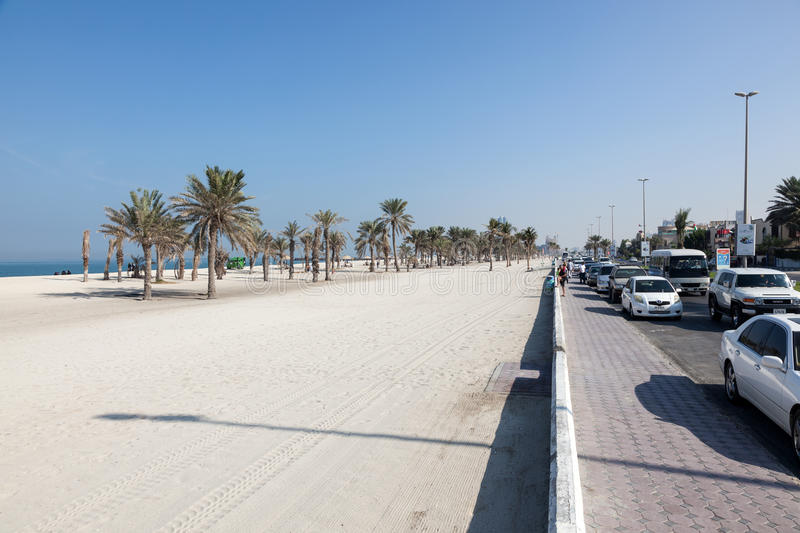Beach and corniche in Umm Al Quwain royalty free stock images