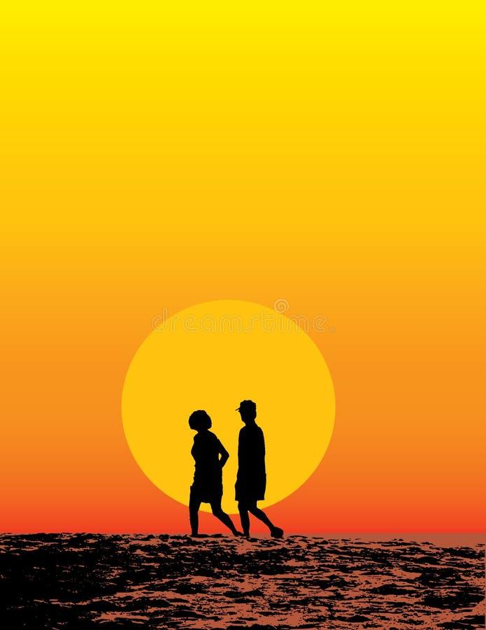 Beach Couple At Sunset Royalty Free Stock Photos