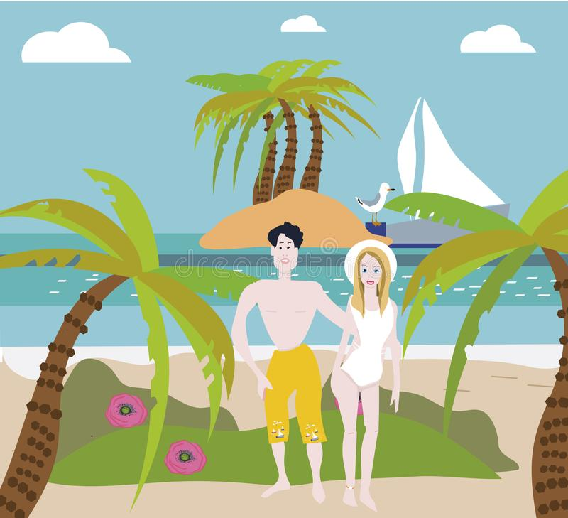 Beach couple walking on romantic travel honeymoon vacation summer holidays romance. Back rear view of casual young happy. Lovers in full body length on beach stock illustration