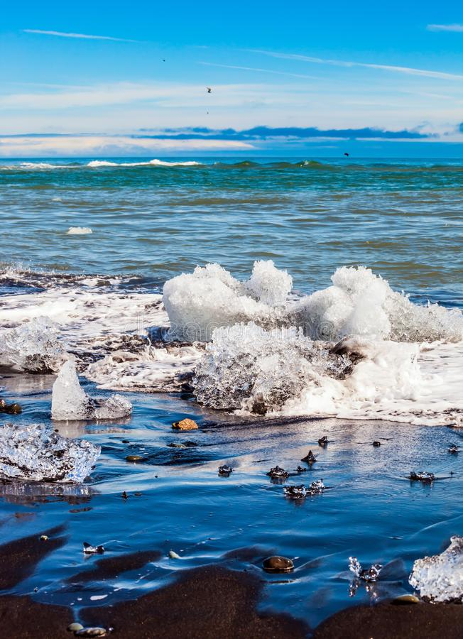 Beach covered with ice shards. Beach with brown - black sand covered with ice shards. The concept of extreme northern tourism. Atlantic coast, Iceland. Ice stock photos