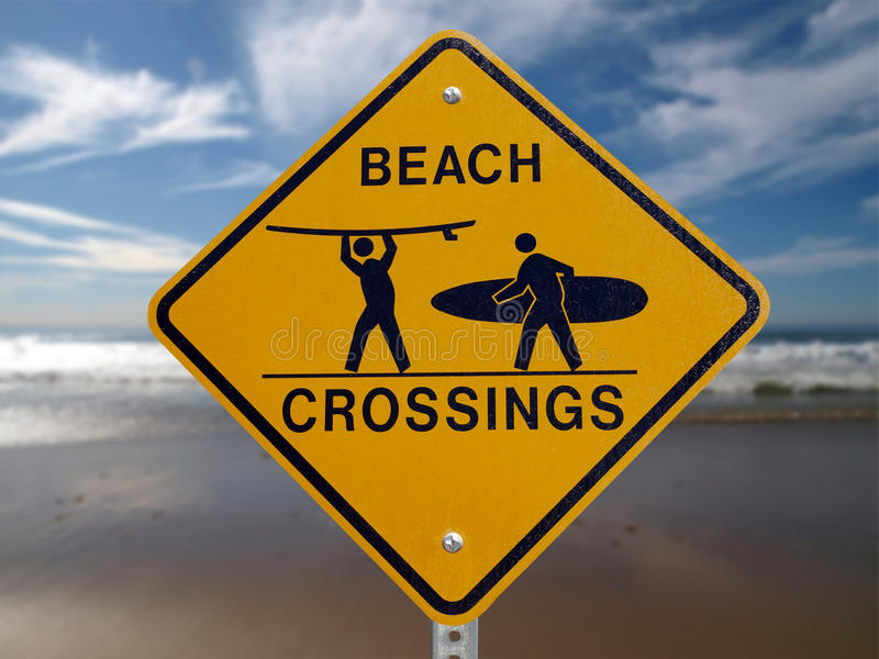 Download Beach Crossings Malibu stock image. Image of surf, warning - 14438737
