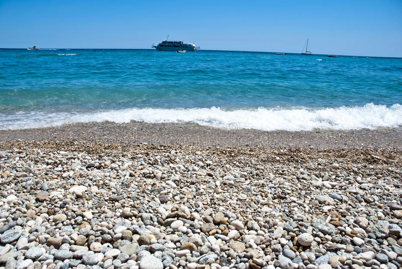 Beach and cruise ship royalty free stock images