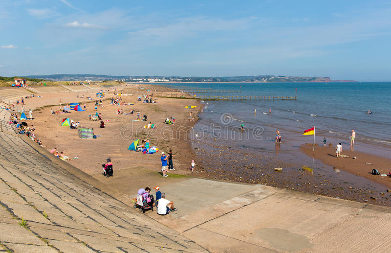 Beach at Dawlish Warren Devon England on blue sky summer day