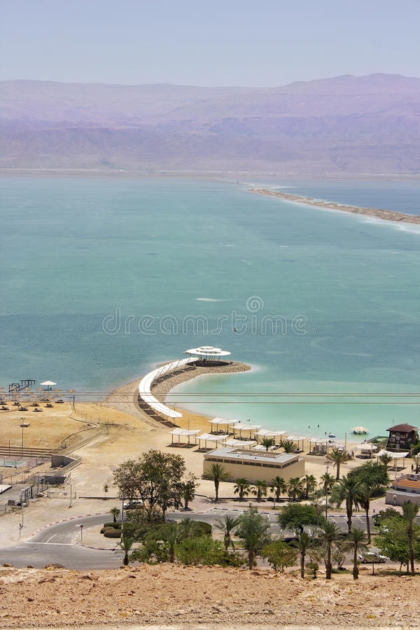 Beach on the Dead Sea, Israel royalty free stock image