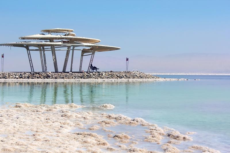Beach at the Dead Sea, israeli shore stock image