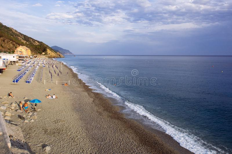 Beach in Deiva Marina. On ligurian coast, Italy stock images