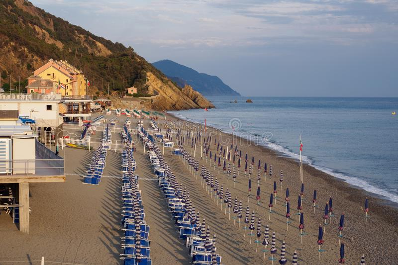 Beach in Deiva Marina. On ligurian coast, Italy stock photos