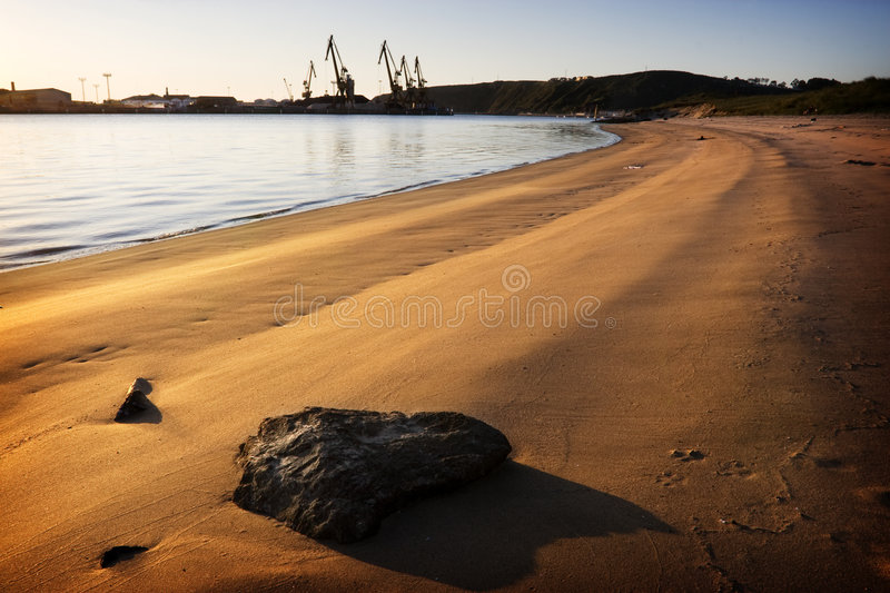 Download Beach and derricks stock photo. Image of rock, calmness - 7517268