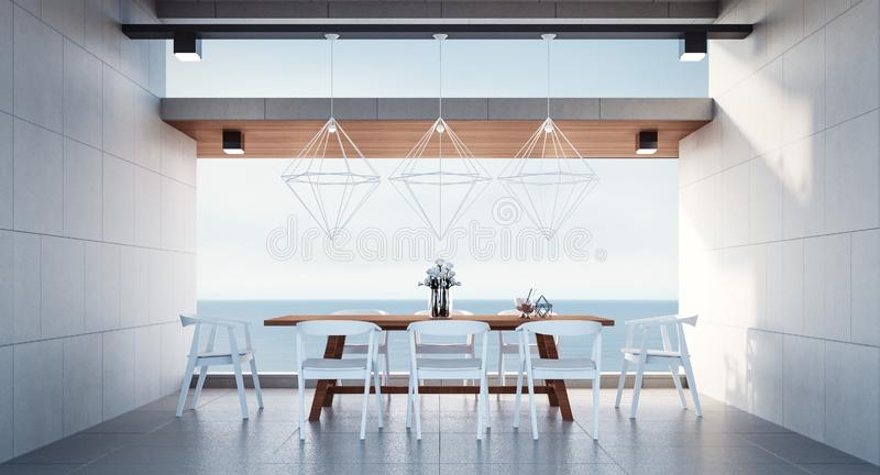 Beach dining room - Sea view / 3d render royalty free stock images