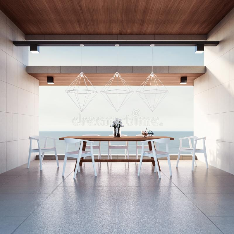 Beach dining room - Sea view / 3d render royalty free stock photos